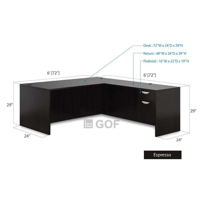 GOF 4 Person Workstation Cubicle (C-6'D  x 24'W x 5'H) / Office Partition, Room Divider - Kainosbuy.com