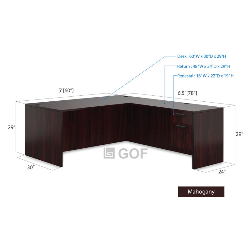 GOF 3 Person Workstation Cubicle (5'D  x 19.5'W x 4'H) / Office Partition, Room Divider - Kainosbuy.com
