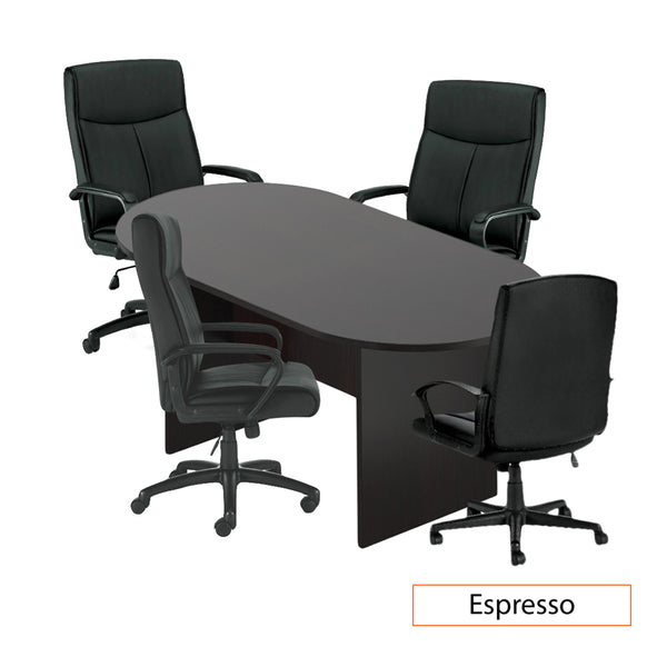 6ft. Racetrack Conference Table with<br> 4 Chairs(G11782B) - Kainosbuy.com