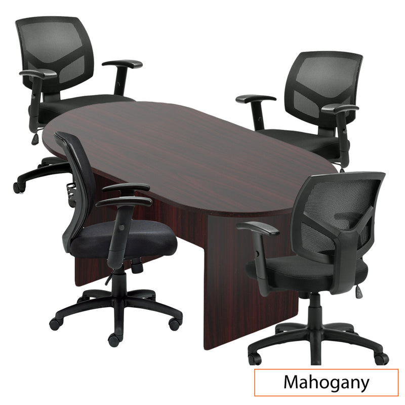6ft. Racetrack Conference Table with<br>4 Chairs(G11514B) - Kainosbuy.com