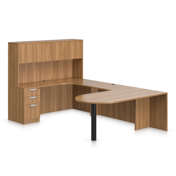 U71D - 6' x 9.5' U-Shape Workstation(Island D with B/B/F Pedestal) Hutch Added - Kainosbuy.com