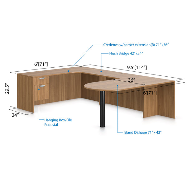 U71D - 6' x 9.5' U-Shape Workstation(Island D with Hanging B/F Pedestal) - Kainosbuy.com