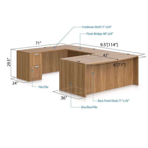 U71D - 6' x 9.5' U-Shape Workstation(Bow front Desk with B/B/F and F/F Pedestal) - Kainosbuy.com
