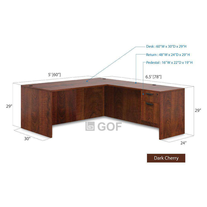 GOF 4 Person Workstation Cubicle (5'D  x 26'W x 5'H) / Office Partition, Room Divider - Kainosbuy.com