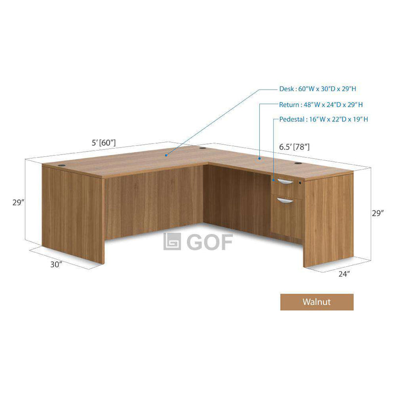 GOF 4 Person Workstation Cubicle (5'D  x 26'W x 4'H) / Office Partition, Room Divider - Kainosbuy.com