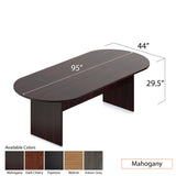 8ft. Racetrack Conference Table with<br>6 Chairs (G11647B) - Kainosbuy.com