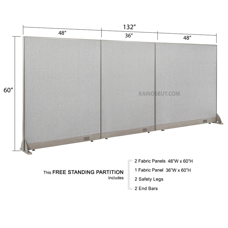 GOF Freestanding Office Partition<BR>132W x 60H - Kainosbuy.com