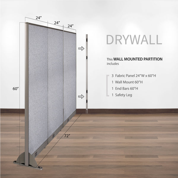 GOF Wallmounted Office Partition<BR>72W x 60H - Kainosbuy.com