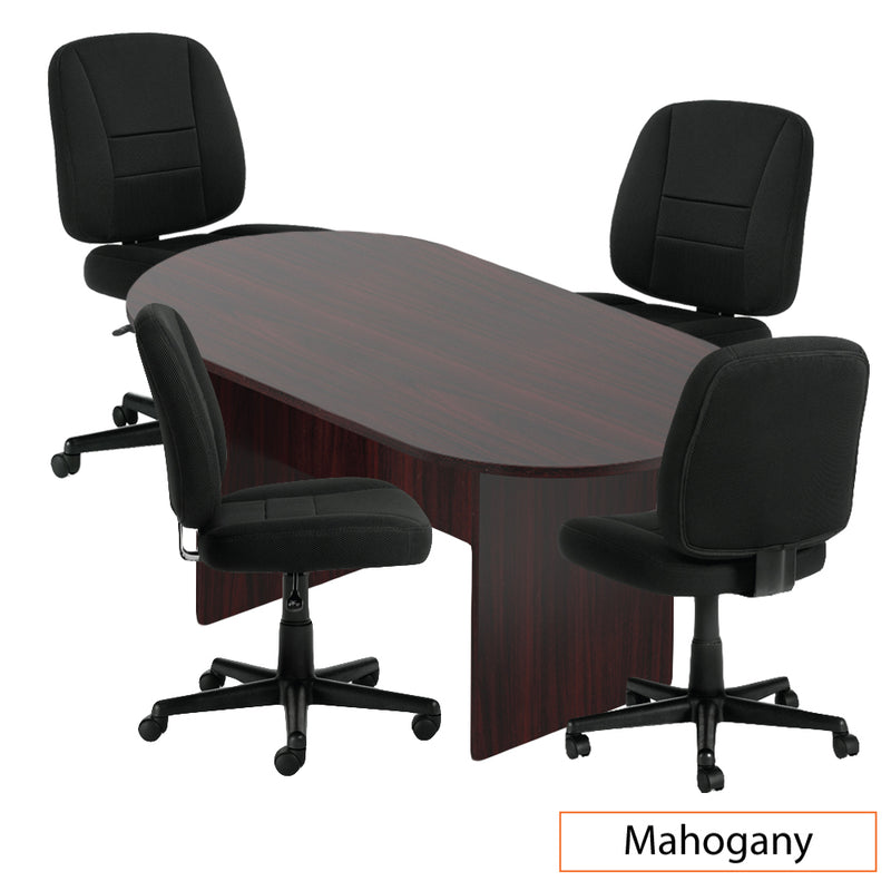 6ft. Racetrack Conference Table with<br>4 Chairs(G11343B) - Kainosbuy.com