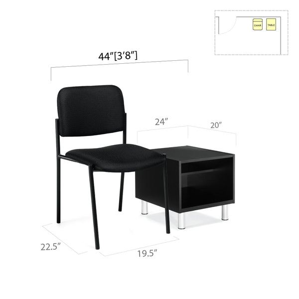 GOF 2 Piece Reception Room Black Chair Table Set - Kainosbuy.com