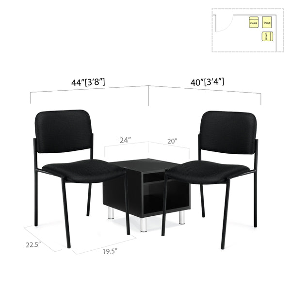GOF 3 Piece Reception Room Black Chair Table Set - Kainosbuy.com