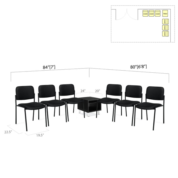 GOF 7 Piece Reception Room Black Chair Table Set / 10% OFF - Kainosbuy.com