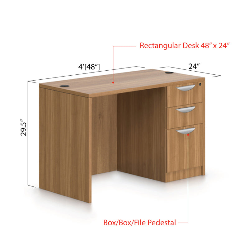 "48""x24"" Rectangular Desk with B/B/F pedestal - Kainosbuy.com"