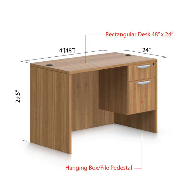"48""x24"" Rectangular Desk with Hanging B/F pedestal - Kainosbuy.com"
