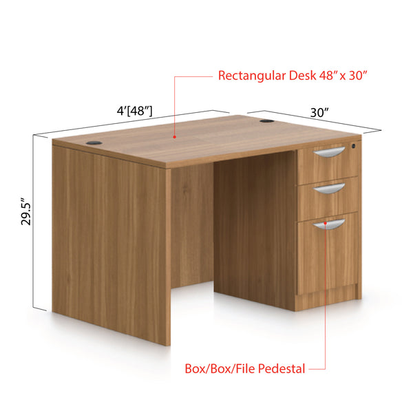 "48""x30"" Rectangular Desk with B/B/F pedestal - Kainosbuy.com"