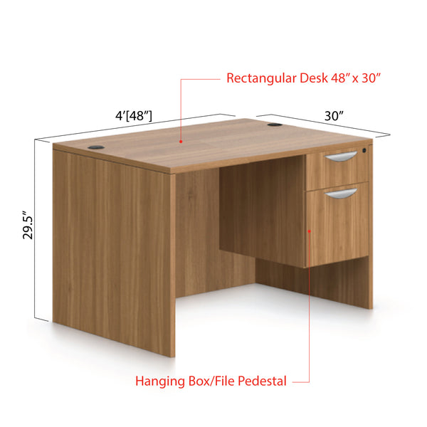 "48""x30"" Rectangular Desk with Hanging B/F pedestal - Kainosbuy.com"