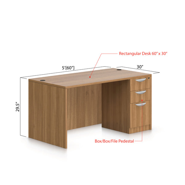 "60""x30"" Rectangular Desk with B/B/F pedestal - Kainosbuy.com"