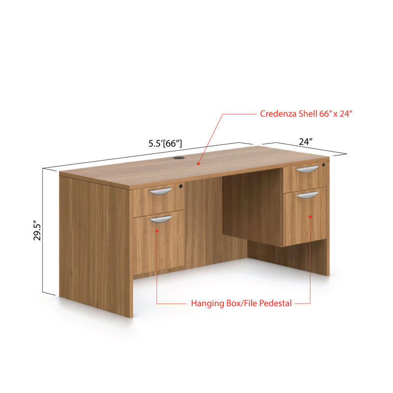 "66""x24"" Credenza shell with Two Hanging B/F pedestal - Kainosbuy.com"