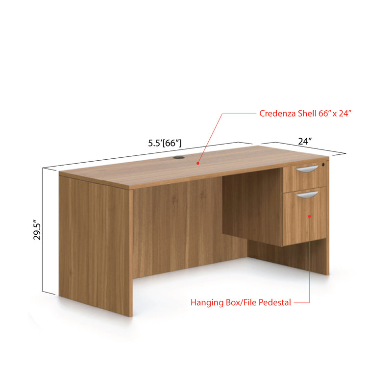 "66""x24"" Credenza shell with Hanging B/F pedestal - Kainosbuy.com"