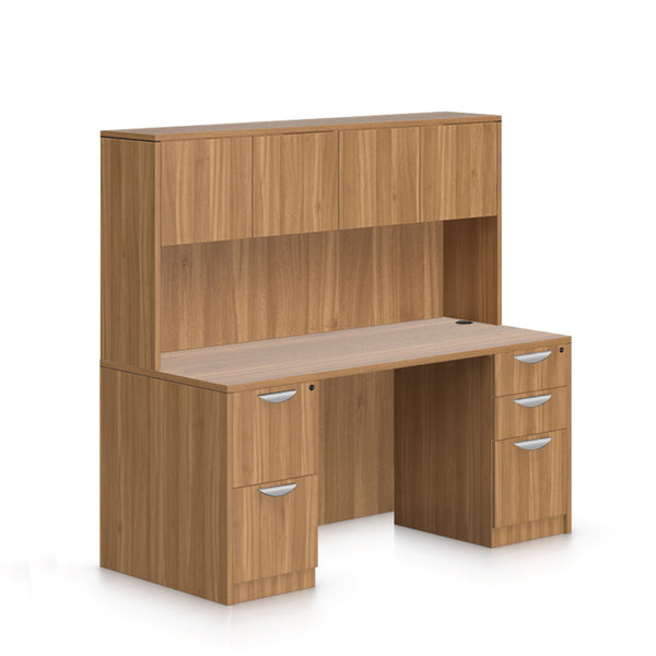 "66""x30"" Rectangular Desk with B/B/F, F/F Pedestal and Hutch - Kainosbuy.com"