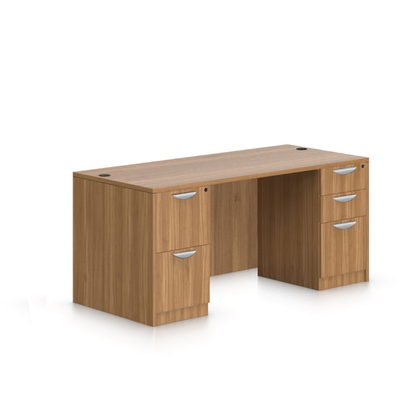 "66""x30"" Rectangular Desk with B/B/F pedestal and F/F Pedestal - Kainosbuy.com"