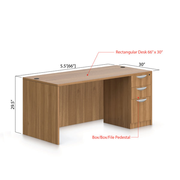 "66""x30"" Rectangular Desk with B/B/F pedestal - Kainosbuy.com"