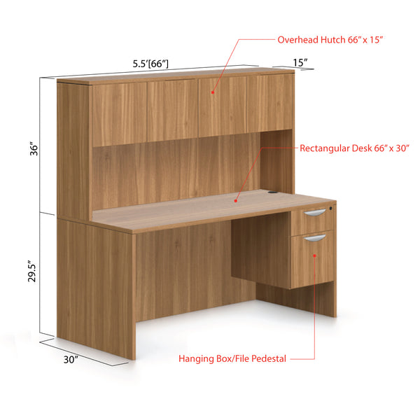 "66""x30"" Rectangular Desk with Hanging Box/File Pedestal and Hutch - Kainosbuy.com"