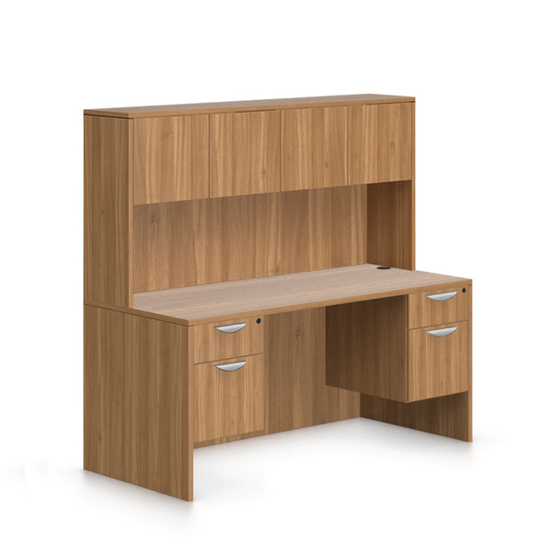 "66""x30"" Rectangular Desk with Two Hanging Box/File Pedestal and Hutch - Kainosbuy.com"