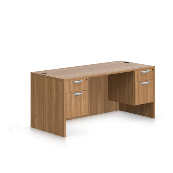 "66""x30"" Rectangular Desk with Two Hanging B/F pedestals - Kainosbuy.com"