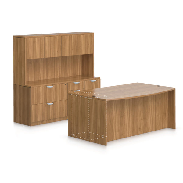 "71""x42"" Bow Front Desk, Lateral File & Mixed Storage, Hutch Added - Kainosbuy.com"