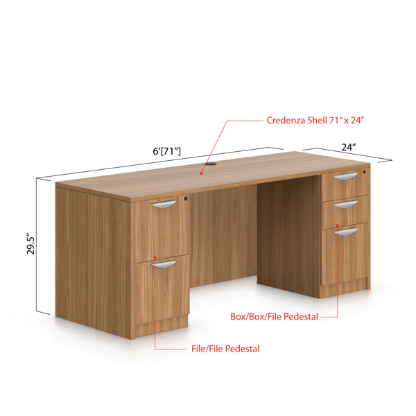 "71""x24"" Credenza shell with B/B/F and F/F pedestal - Kainosbuy.com"