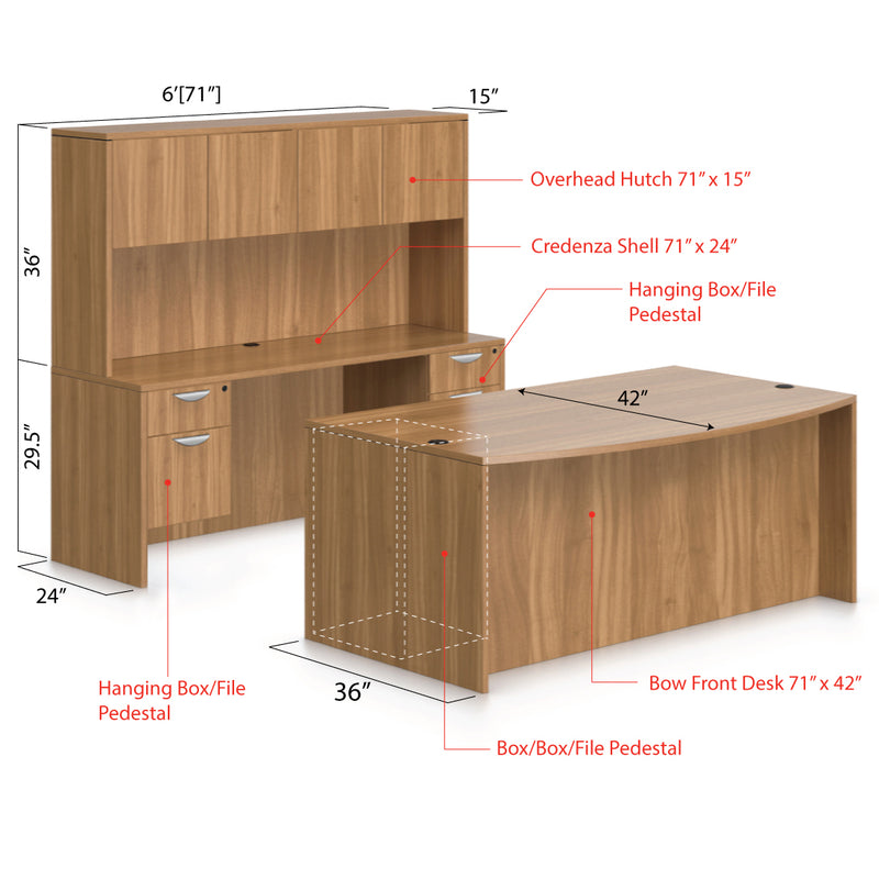 "71""x42"" Bow Front Desk B/B/F & Credenza Shell with Two Hanging B/F Pedestal, Hutch Added - Kainosbuy.com"