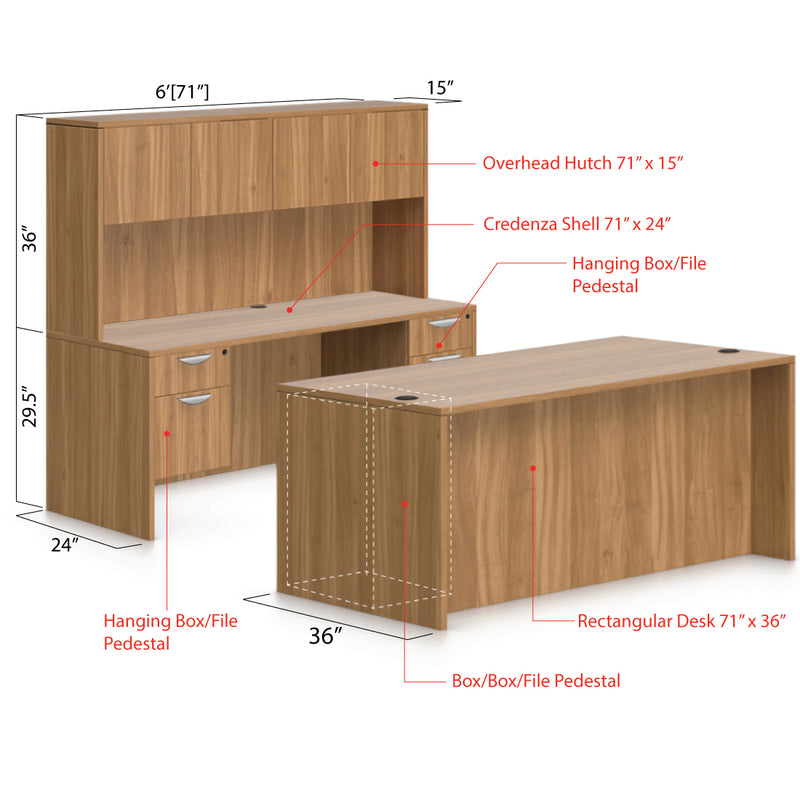 "71""x36"" Rectangular Desk B/B/F & Credenza Shell with Two Hanging B/F Pedestal, Hutch Added - Kainosbuy.com"