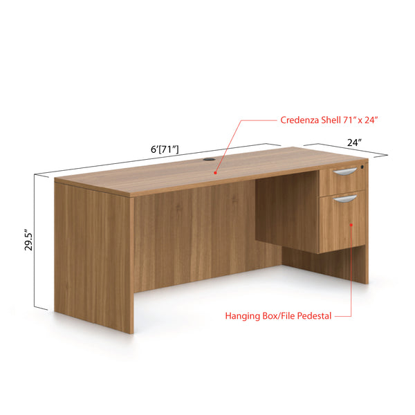 "71""x24"" Credenza shell with Hanging B/F pedestal - Kainosbuy.com"
