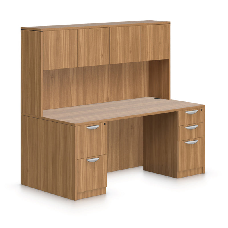 "71""x36"" Rectangular Desk with B/B/F, F/F Pedestal and Hutch - Kainosbuy.com"