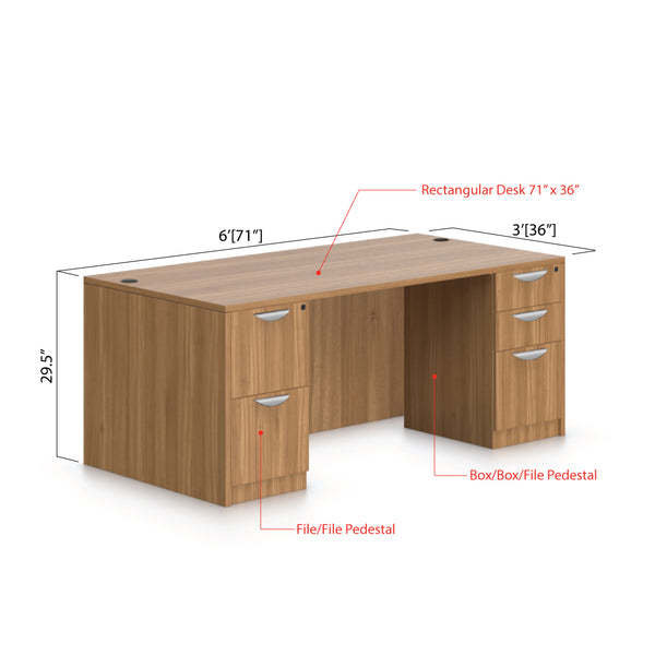 "71""x36"" Rectangular Desk with B/B/F pedestal and F/F pedestal - Kainosbuy.com"