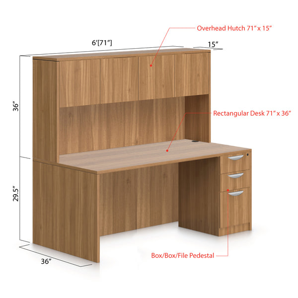 "71""x36"" Rectangular Desk with B/B/F Pedestal and Hutch - Kainosbuy.com"