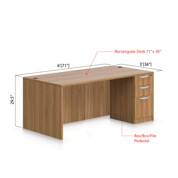"71""x36"" Rectangular Desk with B/B/F pedestal - Kainosbuy.com"