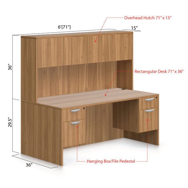 "71""x36"" Rectangular Desk with Two Hanging B/F Pedestal and Hutch - Kainosbuy.com"