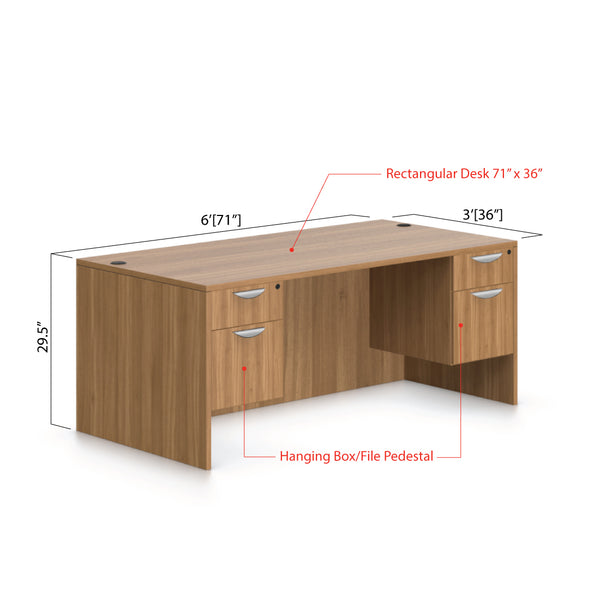 "71""x36"" Rectangular Desk with Two Hanging B/F pedestal - Kainosbuy.com"