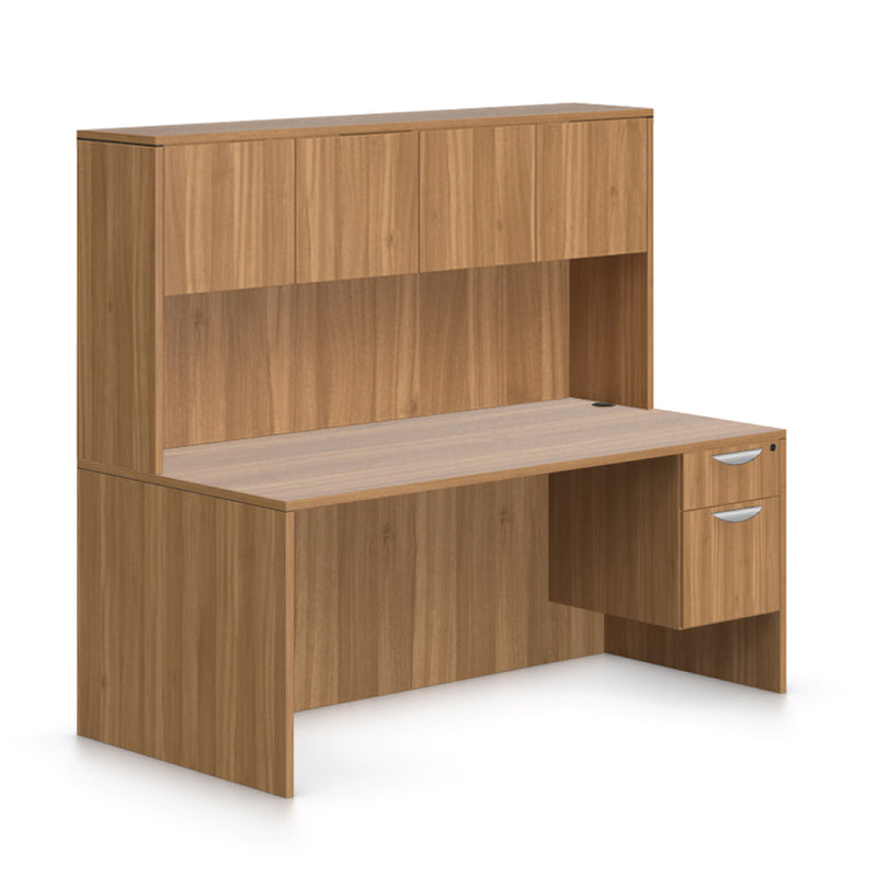 "71""x36"" Rectangular Desk with Hanging B/F Pedestal and Hutch - Kainosbuy.com"