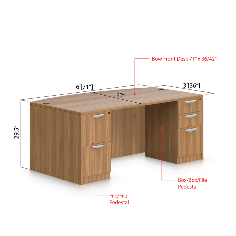 "71""x42"" Bow Front Desk with B/B/F and F/F pedestal - Kainosbuy.com"