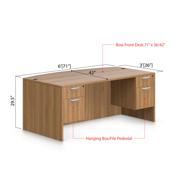 "71""x42"" Bow Front Desk with Two Hanging B/F pedestal - Kainosbuy.com"