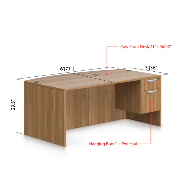 "71""x42"" Bow Front Desk with Hanging B/F pedestal - Kainosbuy.com"