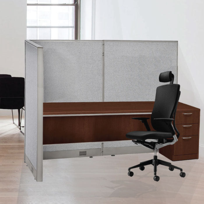 GOF Office L-Shaped Partition 132d x 144w x 72H - Kainosbuy.com