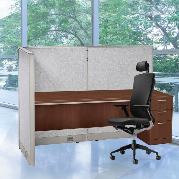 GOF Office L-Shaped Partition 66d x 132w x 60H - Kainosbuy.com
