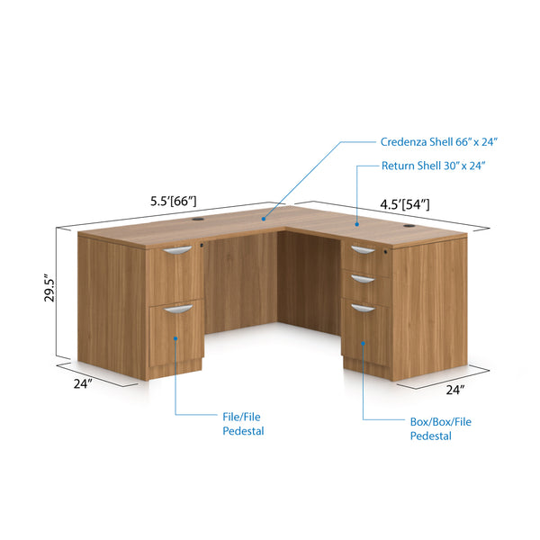 L66A - 5.5' x 4.5' L-Shape Workstation(Credenza Shell with B/B/F, F/F Pedestal) - Kainosbuy.com