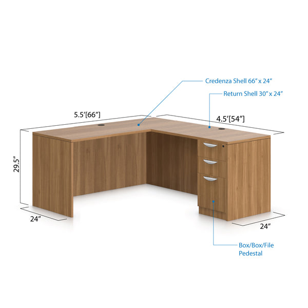 L66A - 5.5' x 4.5' L-Shape Workstation(Credenza Shell with B/B/F Pedestal) - Kainosbuy.com