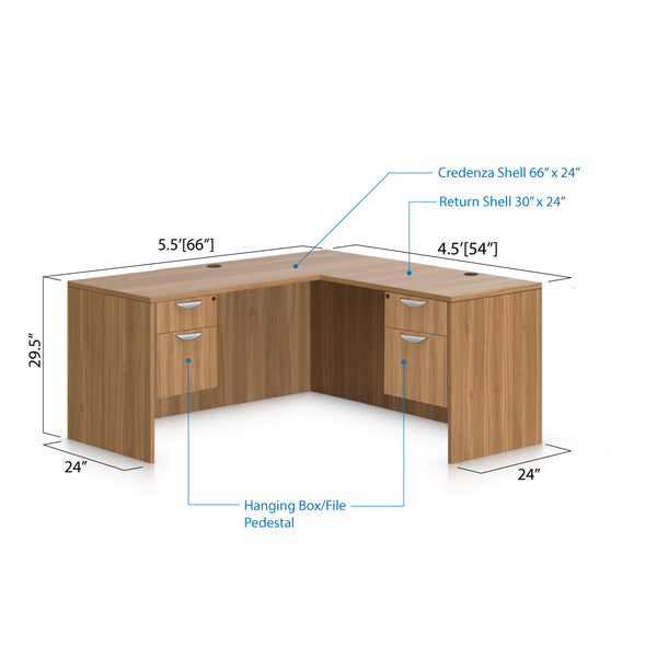 L66A - 5.5' x 4.5' L-Shape Workstation(Credenza Shell with Two Hanging B/F Pedestal) - Kainosbuy.com