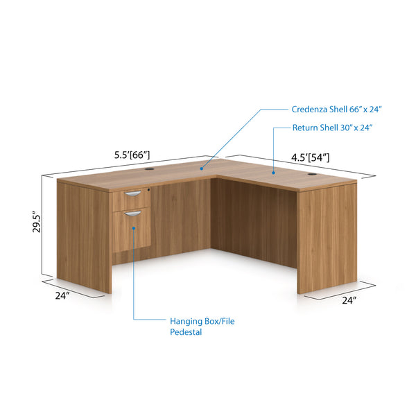 L66A - 5.5' x 4.5' L-Shape Workstation(Credenza Shell with Hanging B/F Pedestal) - Kainosbuy.com